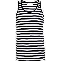 Navy and white horizontal striped vest