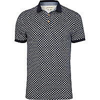 Navy tile print polo shirt