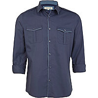 Blue contrast edge military shirt