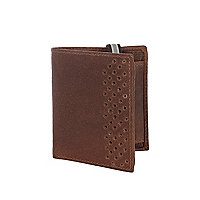 Brown leather perforated panel wallet