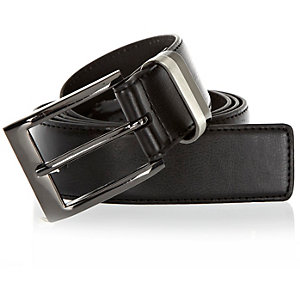 Black two tone metal keeper belt