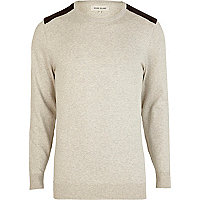 Ecru corduroy shoulder patch jumper