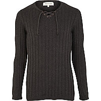Dark grey rib lace neck jumper