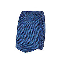 Blue textured pattern tie