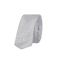 Grey metallic textured skinny tie