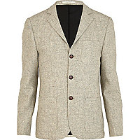 Stone triple button patch pocket blazer
