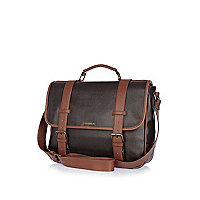 Brown textured contrast strap satchel