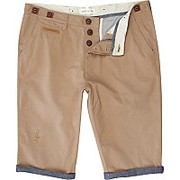 Brown worker crop shorts