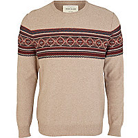 Brown jacquard stripe crew neck jumper