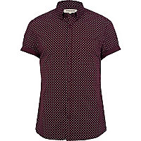 Berry red polka dot shirt