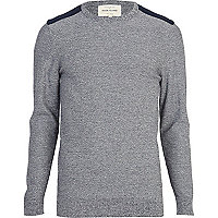 Navy fleck contrast yoke patch jumper