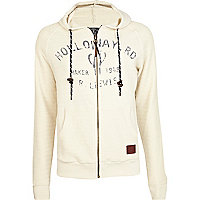 Ecru Holloway Road print zip up hoodie