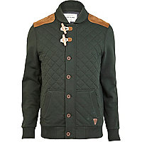 Green quilted duffle sweat cardigan