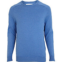 Blue elbow patch jumper