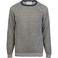 Navy textured pattern crew neck jumper