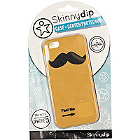 Orange Skinnydip moustache iPhone 5 case
