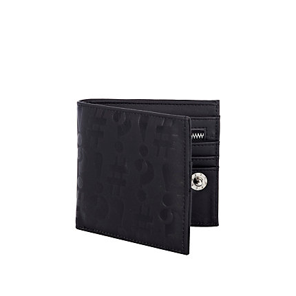 Black symbol embossed wallet