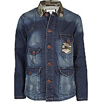 Blue camo panel denim field jacket