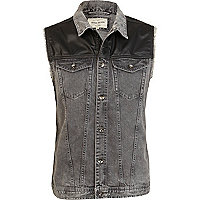 Grey denim PU shoulder gilet