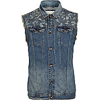 Denim camo panel frayed gilet