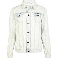 White light wash denim jacket