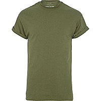 Green crew neck roll sleeve t-shirt