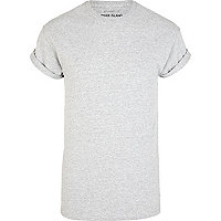 Grey marl roll sleeve t-shirt