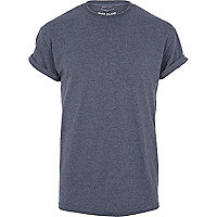 Navy marl crew neck roll sleeve t-shirt