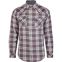 Navy marl check western long sleeve shirt