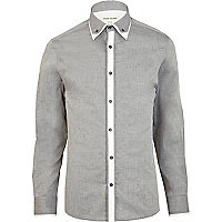 Grey double collar long sleeve shirt