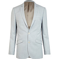 Light blue slim fit smart suit jacket