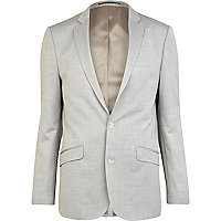 Light grey slim fit smart suit jacket