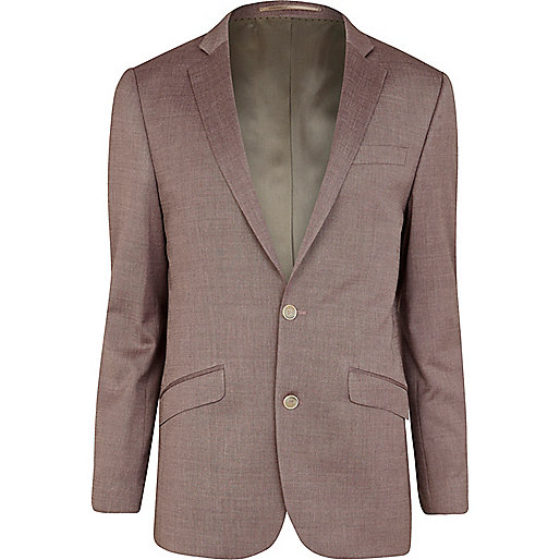 Pink smart slim suit jacket