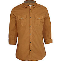 Light brown roll sleeve shirt