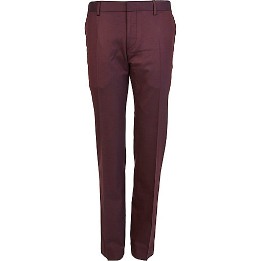 Purple slim fit suit trousers