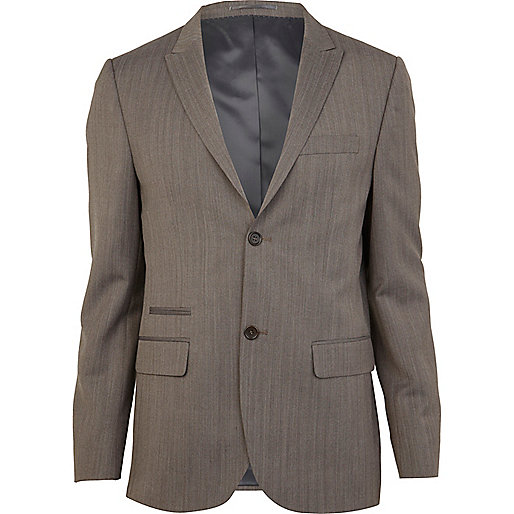 Brown herringbone skinny fit suit jacket