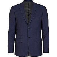 Blue herringbone skinny fit suit jacket