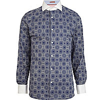 Blue Life Of Tailor tile print shirt