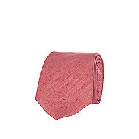 Pink silk and linen mix tie