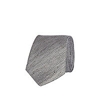 Grey silk and linen mix tie