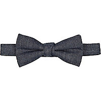 Blue denim bow tie