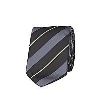 Grey fluro diagonal stripe tie