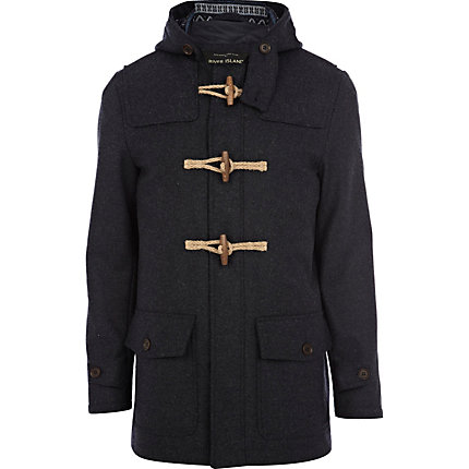 Navy wool smart duffle coat