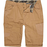 Brown patch pocket cropped cargo shorts