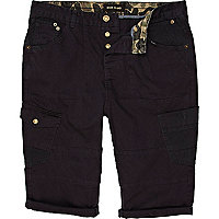 Blue patch pocket cropped cargo shorts