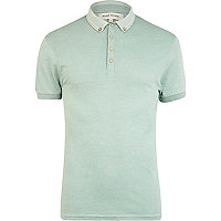 Green jacquard collar polo shirt