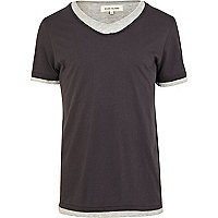 Black double layer scoop neck t-shirt