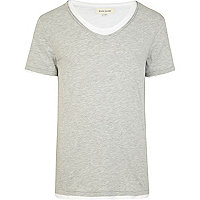 Grey double layer scoop neck t-shirt
