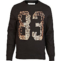 Black animal foil print sweatshirt