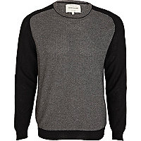 Black textured colour block jumper
